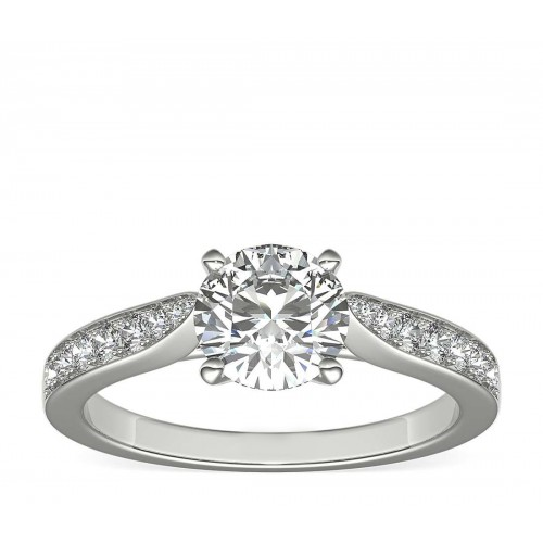 Cathedral Pavé Diamond Engagement Ring in 18k White Gold