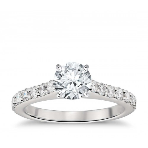 Cathedral Pavé Diamond Engagement Ring in Platinum