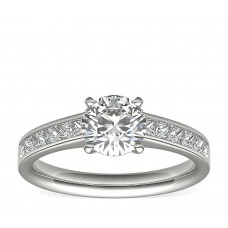 Channel Set Princess Cut Diamond Engagement Ring in  White Gold