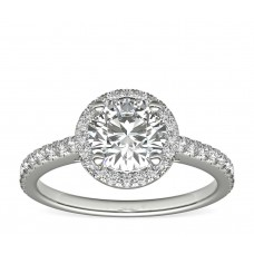 Classic Halo Diamond Engagement Ring in  White Gold