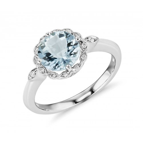Aquamarine and Diamond Milgrain Halo Ring