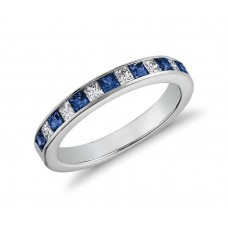 Channel-Set Princess Cut Sapphire and Diamond Ringin  White Gold
