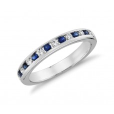 Channel Set Sapphire and Diamond Ringin 18k White Gold