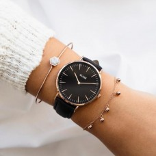 Boho Chic Leather Black, Rose Gold Colour